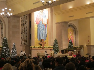 Midnight mass on Christmas.