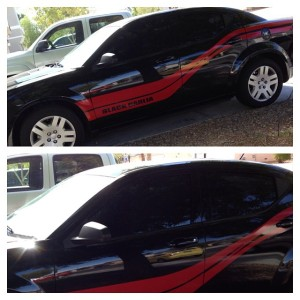 Dodge Avenger 2013 limo tint and racing stripes.