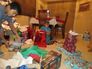 The kids opening presents