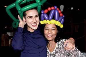 Our balloon hats! She got the crown, I got the frog!