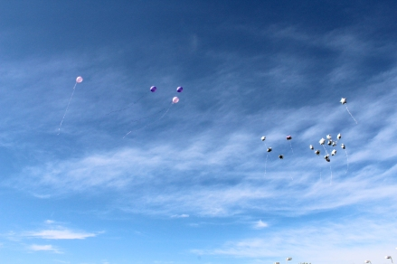 Some people released balloons in remembrance of who they lost.