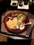 The kids wanted salmon with clams and macaroni served over lettuce.